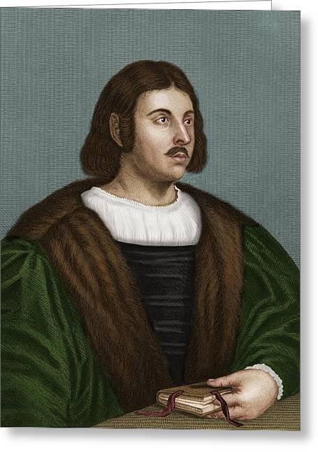 1300s Greeting Cards - Giovanni Boccaccio, Italian Humanist Greeting Card by Maria Platt-evans
