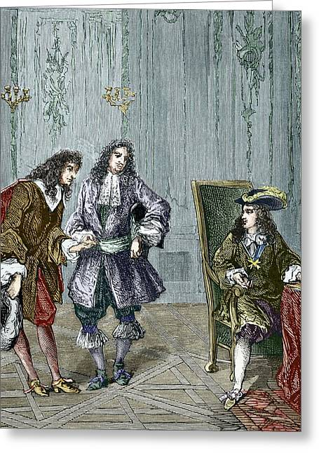 First Introduction Greeting Cards - Giovanni Cassini And King Louis Xiv Greeting Card by Sheila Terry