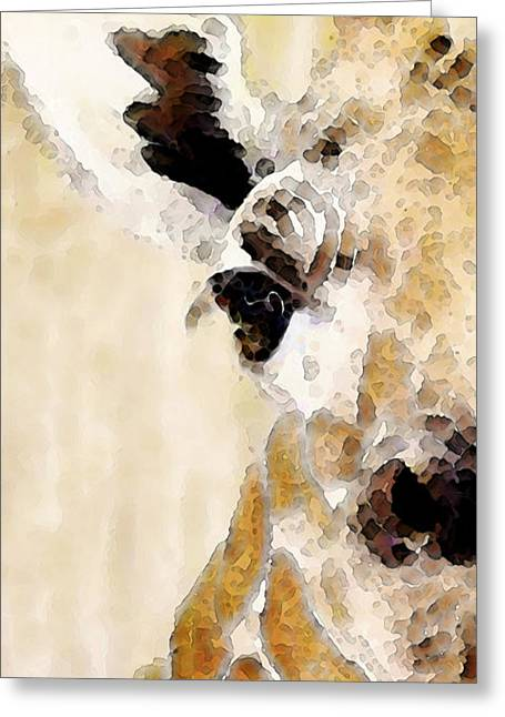 Giraffe Digital Art Greeting Cards - Giraffe Art - Side View Greeting Card by Sharon Cummings