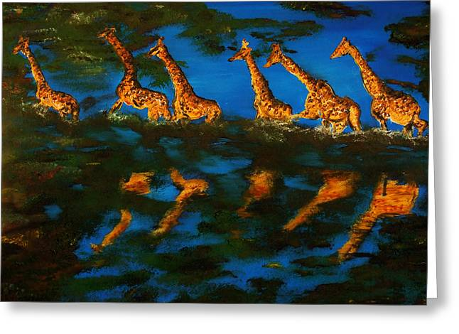 Gregory Allen Page Greeting Cards - Giraffe in Africa Greeting Card by Gregory Allen Page
