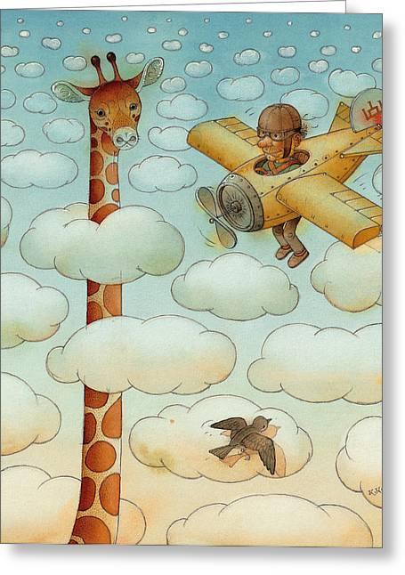 Flying Greeting Cards - Giraffe Greeting Card by Kestutis Kasparavicius