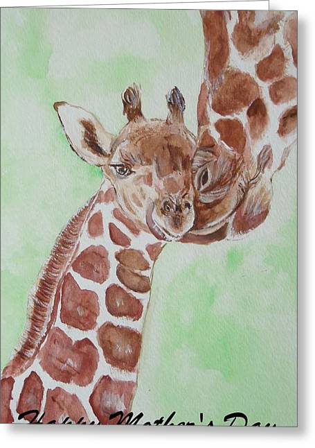 Card Greeting Cards - Giraffe mom Greeting Card by Carol Blackhurst
