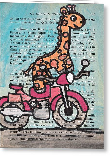 Giraffe Drawings Greeting Cards - Giraffe On A Motorcycle Greeting Card by Jera Sky