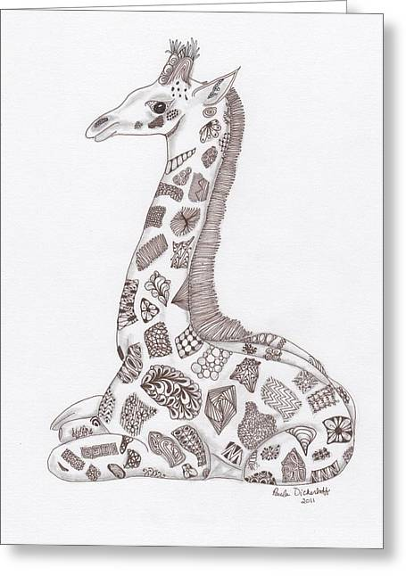 Sepia Ink Drawings Greeting Cards - Giraffe Greeting Card by Paula Dickerhoff