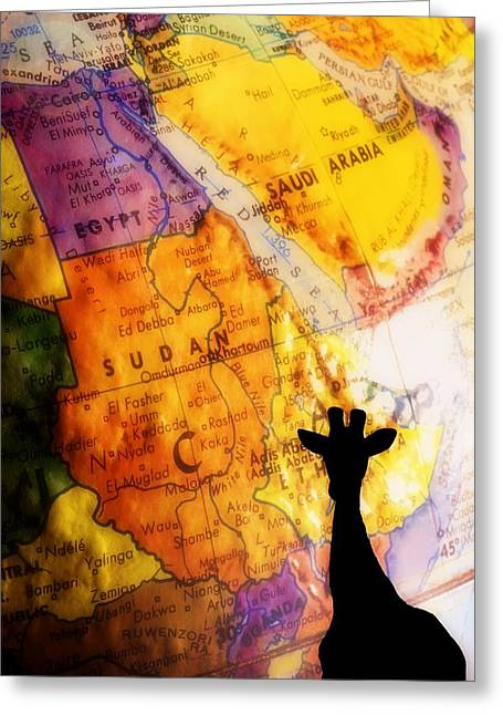 Maps Globes And Flags Greeting Cards - Giraffe Silhouette With Map Background Greeting Card by Chris Knorr