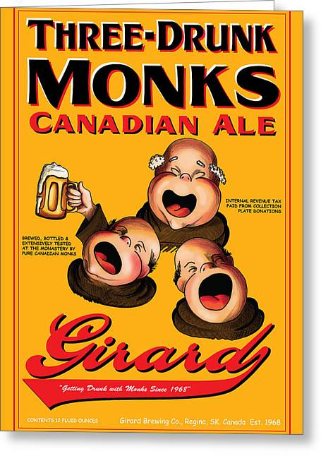 Stein Drawings Greeting Cards - Girard Three Drunk Monks Greeting Card by John OBrien