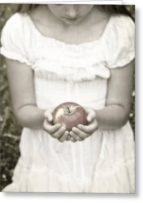 Knelt Photographs Greeting Cards - Girl And Apple Greeting Card by Joana Kruse