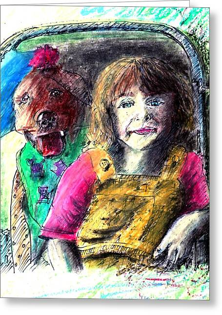 Eyelash Drawings Greeting Cards - Girl and Dog Oil Pastel Portrait Greeting Card by Romy Galicia