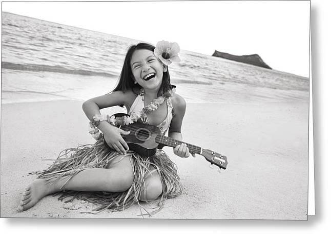 Precious Moment Greeting Cards - Girl and Her Ukulele Greeting Card by Brandon Tabiolo - Printscapes