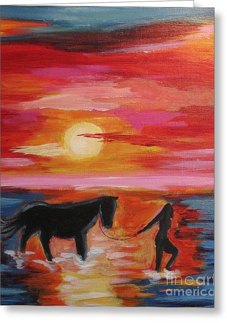 Diana Riukas Greeting Cards - Girl and  Horse Greeting Card by Diana Riukas