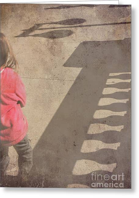 Streetlight Greeting Cards - Girl and shadows Greeting Card by Jim Wright