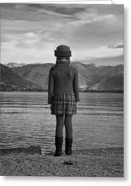 Black Boots Greeting Cards - Girl At A Lake Greeting Card by Joana Kruse