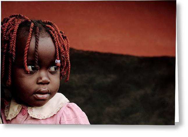Internally Greeting Cards - Girl At A Refugee Camp, Uganda Greeting Card by Mauro Fermariello