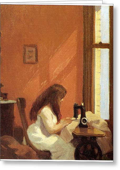Fine American Art Greeting Cards - Girl at Sewing Machine Greeting Card by Edward Hopper