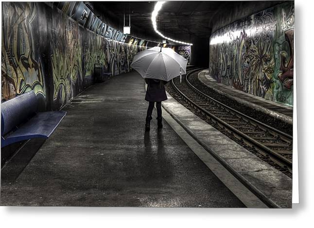Umbrella Greeting Cards - Girl At Subway Station Greeting Card by Joana Kruse