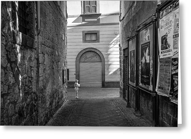 Orvieto Greeting Cards - Girl at the end of the street Greeting Card by Michael Avory