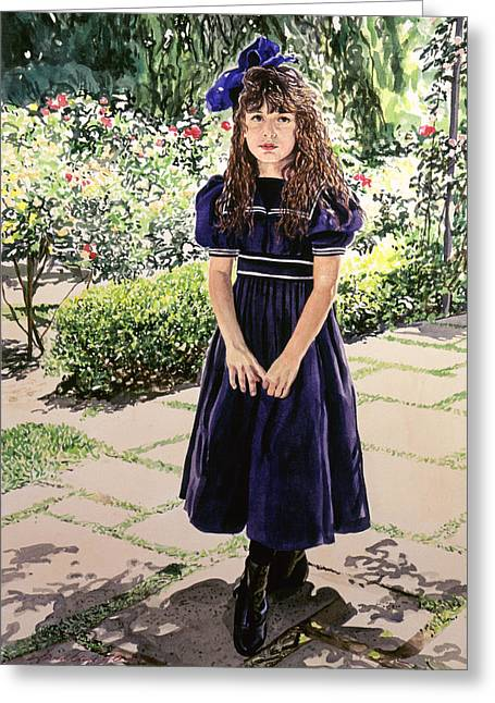 Period Photographs Greeting Cards - Girl At The Huntington Greeting Card by David Lloyd Glover