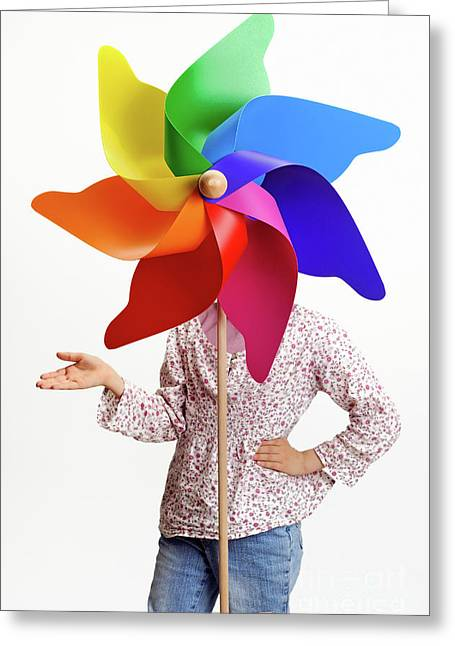 Hand On Face Greeting Cards - Girl behind a colorful windmill Greeting Card by Sami Sarkis