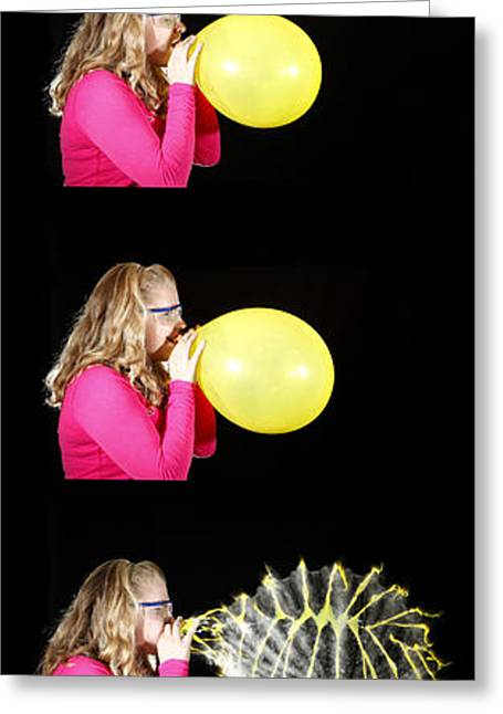Inflation Greeting Cards - Girl Bursting A Balloon Greeting Card by Ted Kinsman
