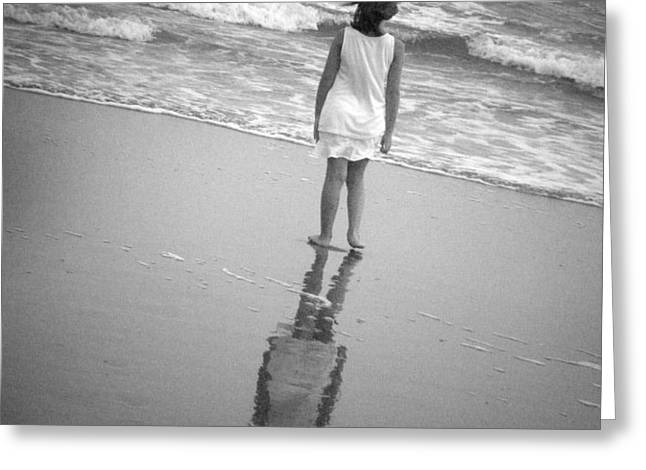 Girl by Ocean Greeting Card by Kelly Hazel