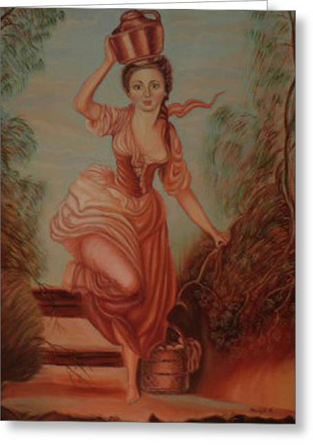 Water Jars Paintings Greeting Cards - Girl Carrying Water Greeting Card by Margit Armbrust