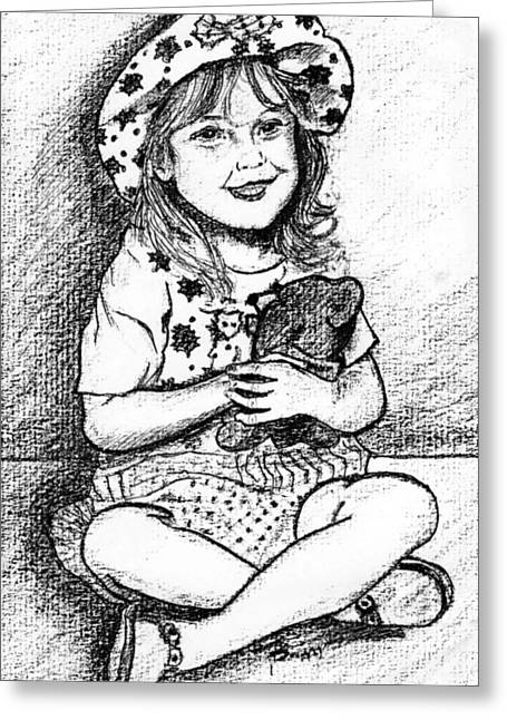 Eyelash Greeting Cards - Girl Charcoal Portrait Greeting Card by Romy Galicia