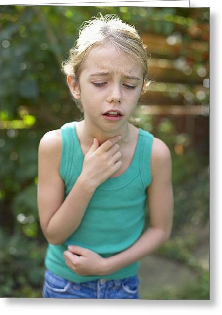 Choking Greeting Cards - Girl Coughing Greeting Card by Ian Boddy