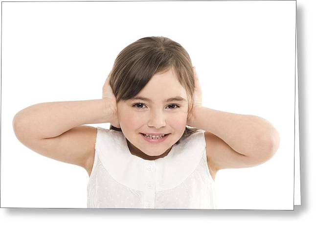 Covering Up Greeting Cards - Girl Covering Her Ears Greeting Card by