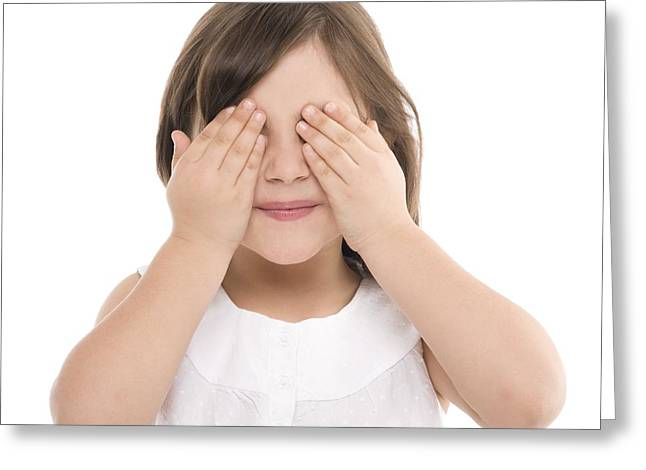 4-5 Years Greeting Cards - Girl Covering Her Eyes Greeting Card by