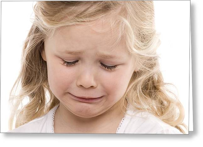 4-5 Years Greeting Cards - Girl Crying Greeting Card by