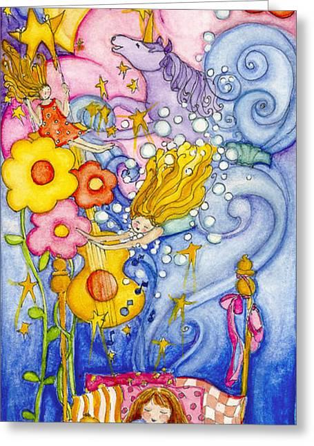 Sleeping Mermaid Greeting Cards - Girl Dreaming Greeting Card by Barbara Esposito