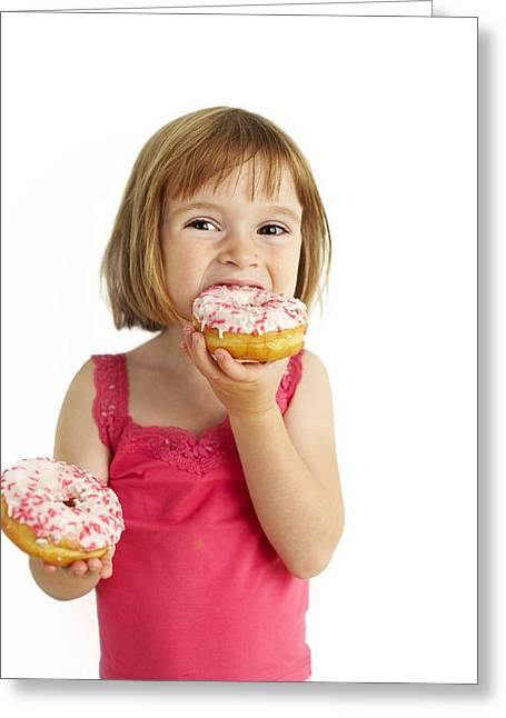 Doughnuts Greeting Cards - Girl Eating Doughnuts Greeting Card by Ian Boddy