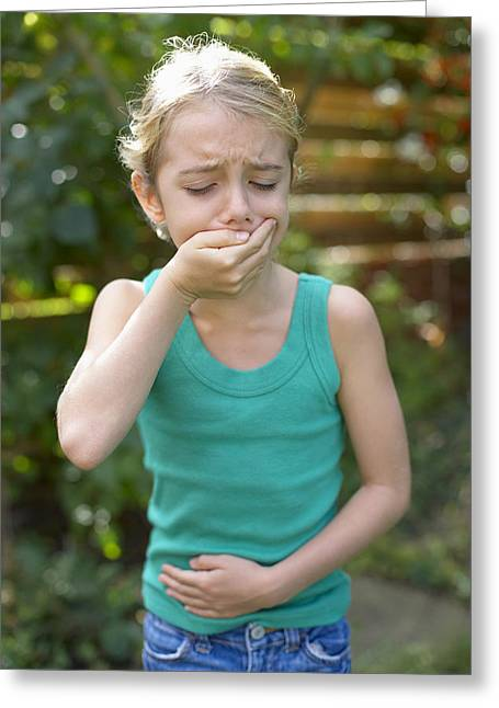 Girl Feeling Sick Greeting Card by Ian Boddy