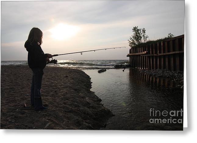 Babbling Greeting Cards - Girl fishing on edge of stream Greeting Card by Christopher Purcell