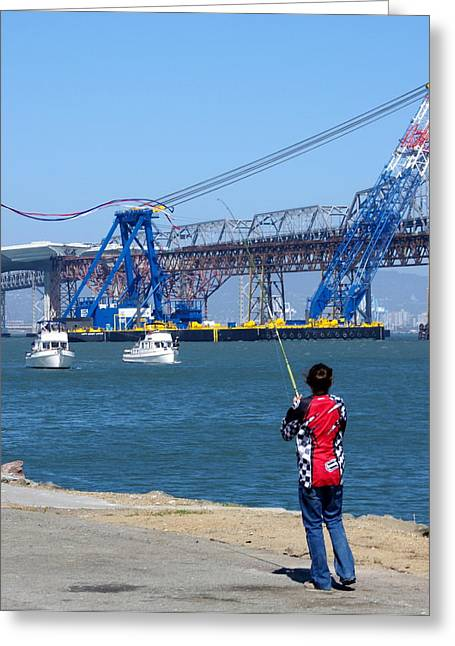 Boats In Harbor Greeting Cards - Girl Flying Kite in San Francisco Bay Greeting Card by Jeff Lowe