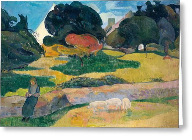 Farming Greeting Cards - Girl Herding Pigs Greeting Card by Paul Gauguin