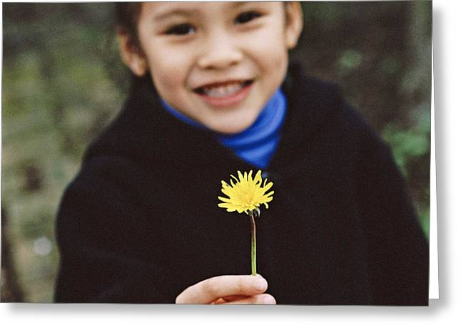 Girl Holding A Flower Greeting Card by Ian Boddy