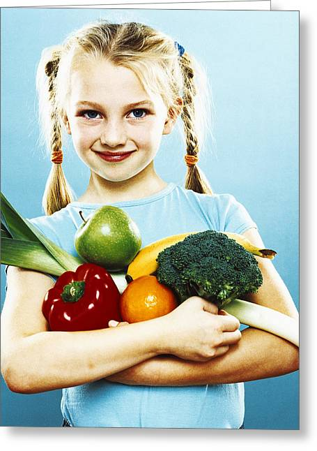 Consume Greeting Cards - Girl Holding Fruit And Vegetables Greeting Card by Kevin Curtis