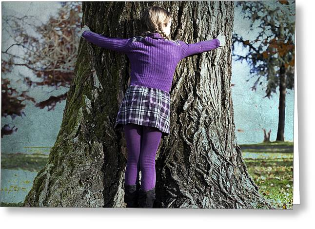 Girl Hugging Tree Trunk Greeting Card by Joana Kruse