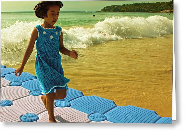 Knitted Dress Greeting Cards - Girl in a knitted dress Greeting Card by Paul Grand