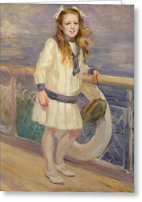 Girl In A Sailor Suit Greeting Card by Charles Sims