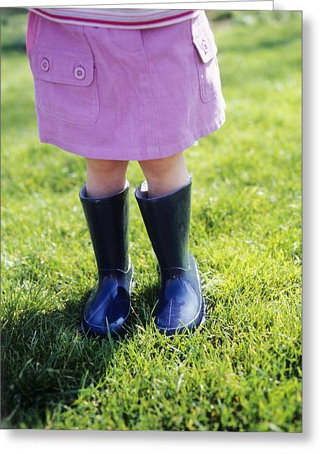 Child Care Greeting Cards - Girl In Boots Greeting Card by Ian Boddy