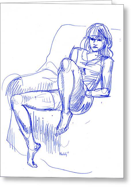 Thin Drawings Greeting Cards - Girl In Chair Greeting Card by Natoly Art