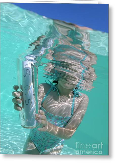 One Piece Swimsuit Greeting Cards - Girl in pool holding bottle with SOS message Greeting Card by Sami Sarkis