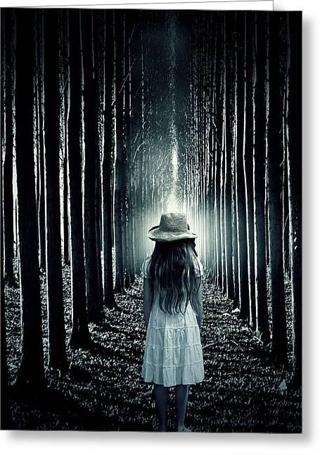 Fearful Greeting Cards - Girl In The Forest Greeting Card by Joana Kruse