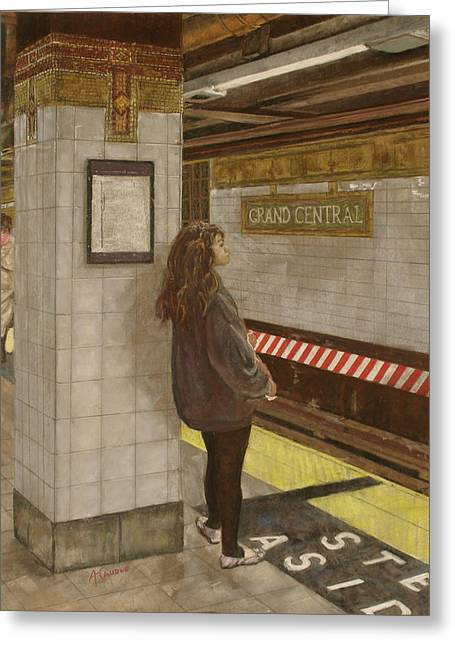 Times Square Pastels Greeting Cards - Girl in the Subway Greeting Card by Ann Caudle