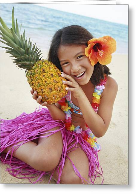 Precious Moment Greeting Cards - Girl in Tropical Paradise Greeting Card by Brandon Tabiolo - Printscapes