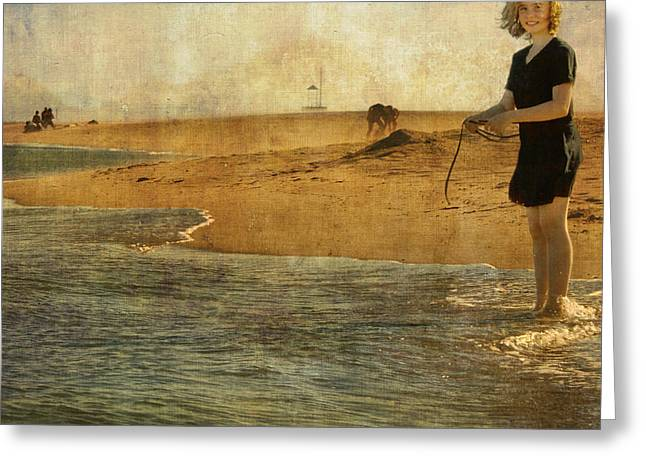 Paul Grand Greeting Cards - Girl On A Shore Greeting Card by Paul Grand