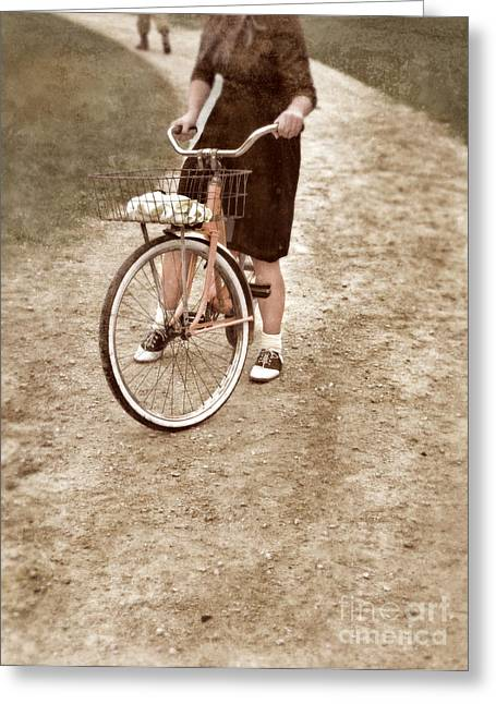 Young Lady Greeting Cards - Girl on Bike Looking Back Greeting Card by Jill Battaglia