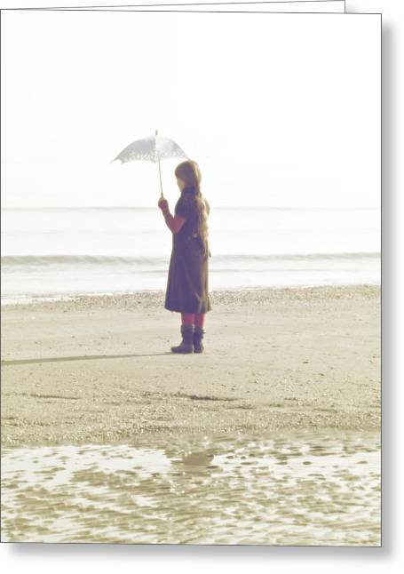 Girl On The Beach With Umbrella Greeting Card by Joana Kruse